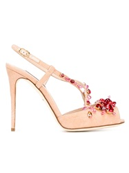 Dolce And Gabbana Embellished Peep Toe Pumps Pink And Purple