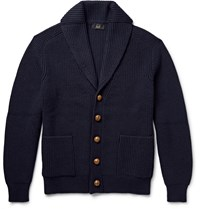 Dunhill Shawl Collar Ribbed Merino Wool Cardigan Blue
