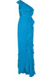 Badgley Mischka One Shoulder Silk Gown Blue