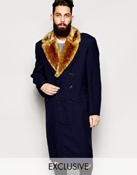 Reclaimed Vintage Military Overcoat With Faux Fur Collar Blue