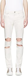 R 13 White Distressed Skate Jeans