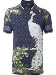 Dolce And Gabbana Peacock Print Polo Shirt Blue