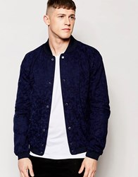 Native Youth Camouflage Bomber Jacket Blue