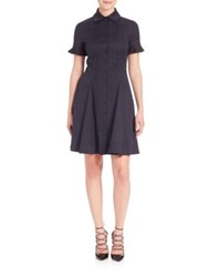 Yigal Azrouel Pleated Shirtdress Midnight