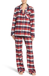 Nordstrom Women's Lingerie Flannel Pajamas Red Lipstick Lucky Plaid