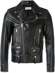 Saint Laurent Distressed Motorcycle Jacket Black