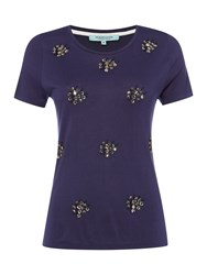 Dickins And Jones Jersey Cluster Top Navy