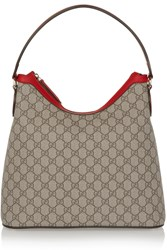 Gucci Linea A Hobo Monogrammed Canvas And Leather Shoulder Bag