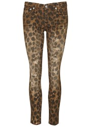 R 13 Kate Leopard Cropped Skinny Jeans