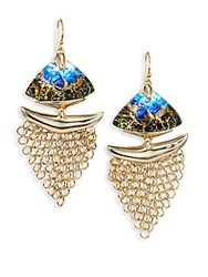 Alexis Bittar 10K Goldplated Brass Mesh Wire Earrings Indigo Gold