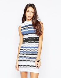 Your Eyes Lie Sleeveless Striped Body Conscious Dress Multi