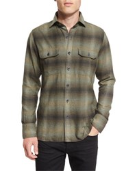 Tom Ford Exploded Plaid Flannel Sport Shirt Olive