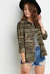 Forever 21 Camo Print Jacket Olive Green