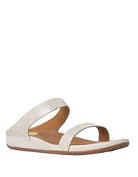 Fitflop Leather Slide Buckle Sandals Stone