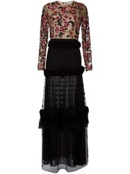 Zuhair Murad Floral Embroidery Dress Black