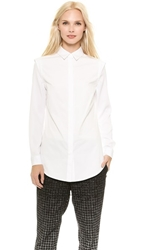Public School Button Up Shirt With Recessed Shoulder White