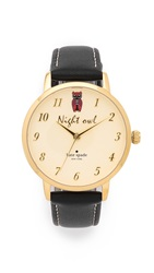 Kate Spade Metro Night Owl Watch Black Gold