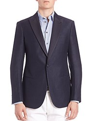 Giorgio Armani Silk Lapel Wool And Linen Sportcoat Dark Blue