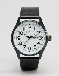 Limit Leather Black Watch With White Dial Black