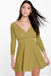 Boohoo Long Sleeve Wrap Front Skater Dress Olive