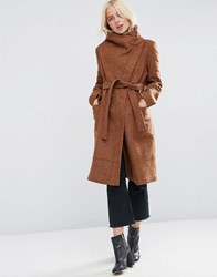 Asos Coat With Funnel Neck And Tie Waist Chestnut Brown
