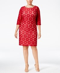 Jessica Howard Plus Size Lace Shift Dress Dark Red