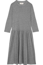 The Great Long Sleeve Oversized Stretch Jersey Dress Dark Gray