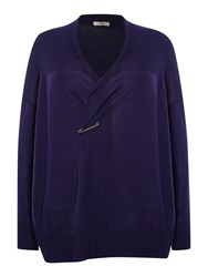 Persona Plus Size Mentore Wool Mix Drape Cardigan Violet