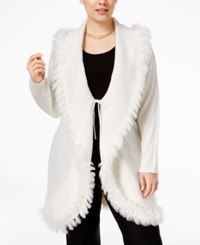 Alfani Plus Size Faux Fur Trim Cardigan Only At Macy's Cloud