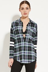 Forever 21 Varsity Striped Flannel Shirt Blue Green