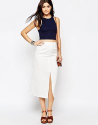 Glamorous Calf Length Skirt With Front Split White