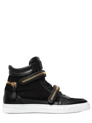 Louis Leeman Zip Details Suede High Top Sneakers