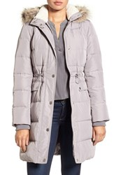 Kenneth Cole Women's New York Quilted Down And Feather Coat With Faux Fur Trim Hood