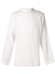 Isabel Benenato Button Collar Shirt White