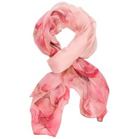 Chesca Silk Flower Print Scarf Light Pink