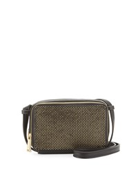 French Connection Amy Metallic Faux Leather Crossbody Bag Black Gold