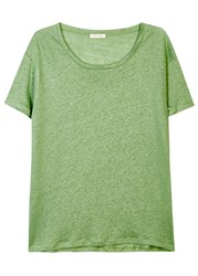 American Vintage Quincy Green Slubbed Linen T Shirt Light Green
