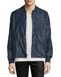 John Varvatos Quilted Snap Front Nylon Jacket Blue Men's