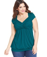 Soprano Plus Size Cap Sleeve Ruched Empire Top Jade