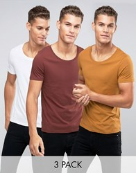 Asos 3 Pack T Shirt With Scoop Neck In Tan Chestnut White Cigar Chestnut White Multi