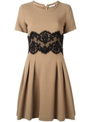 P.A.R.O.S.H. Lace Panel Flared Dress Brown