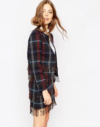 Asos Premium Cropped Blazer In Check With Fringe Detail Co Ord