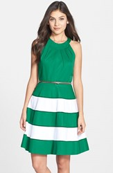 Women's Eliza J Stripe Skirt Cotton Sateen Fit And Flare Dress Green