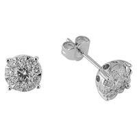 Ewa 18Ct White Gold Solitaire Effect Diamond Large Stud Earrings 0.75Ct
