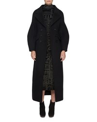 Burberry Long Wool Military Coat Black