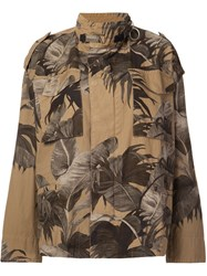 Off White Floral Print Military Jacket Brown