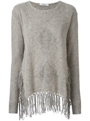 Mes Demoiselles 'Ayeaye' Fringed Knitted Tunic Nude And Neutrals