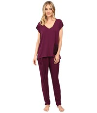 Midnight By Carole Hochman Modal Short Sleeve Pajama Mulberry Women's Pajama Sets Purple