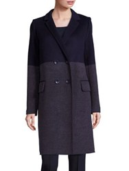 Lafayette 148 New York Gianna Dynamic Wool And Cashmere Striped Coat Ink Multi
