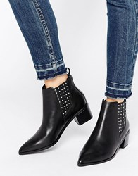 Office Amber Stud Leather Heeled Chelsea Boots Black Leather